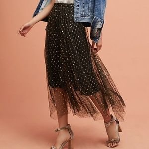 Eva Franco Anthropologie Metallic Tulle Skirt 10